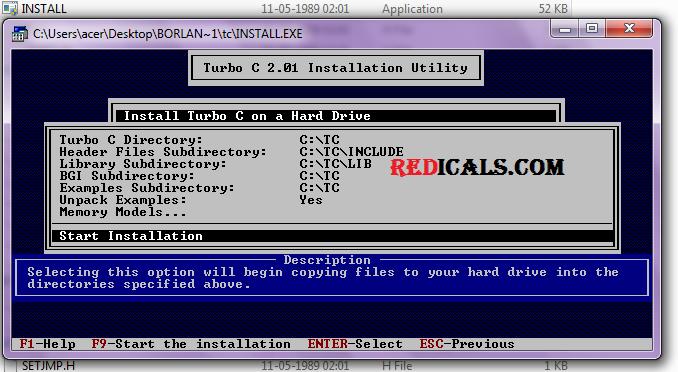 installing turbo c
