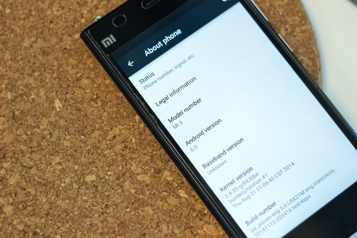 Xiaomi Mi3 Android Lollipop Update