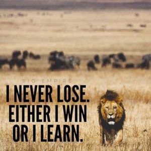 I never Lose; I either win or learn!